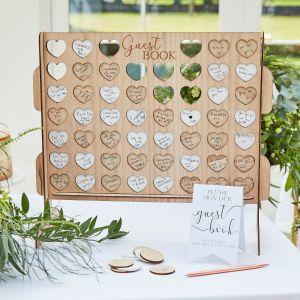 Ginger Ray BR-384 Botanical Wedding Vier in einer Reihe Gästebuch