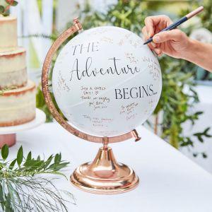 Ginger Ray BR-337 Botanical Wedding Globus Gästebuch | Weiß | Gästebücher Hochzeit | Hochzeitsglobus