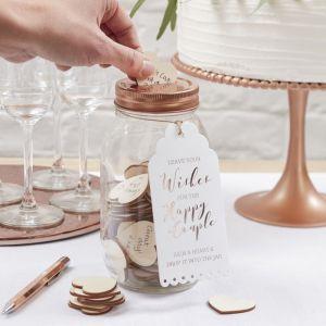 Gästebuch Wunschglas mit Herzchen aus Holz- Beautiful Botanics