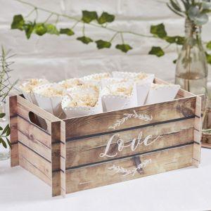 Kiste mit LOVE Holz-Look - Beautiful Botanics