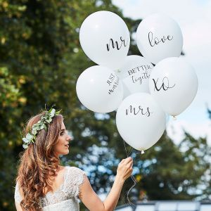 Ginger Ray BR-374 Botanical Wedding Ballons Weiß