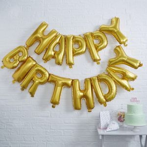 Goldene Happy Birthday Ballons | Pick & Mix
