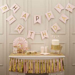 Rosa Happy Birthday Girlande| Pastel Perfection