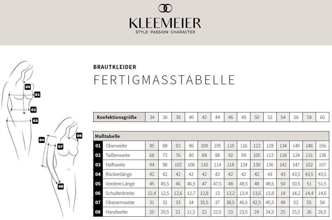 Größentabelle Brautkleider Kleemeier
