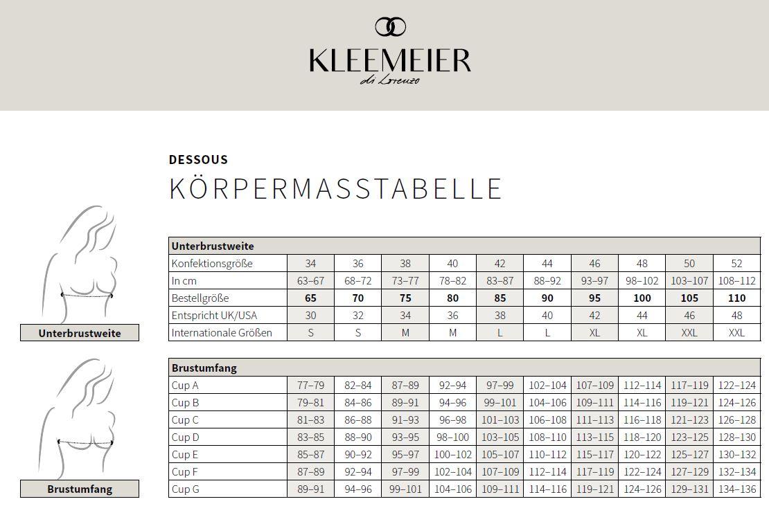 Größentabelle Dessous-Unterwäsche Kleemeier