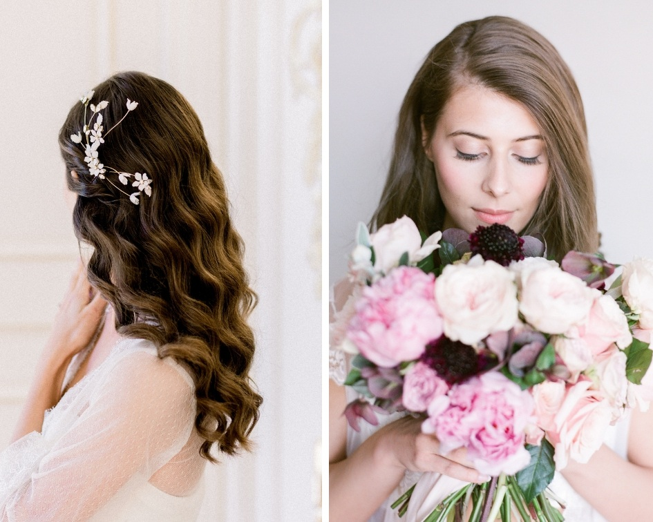Brautfrisuren lang mit Haarreifen