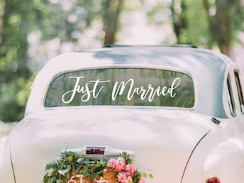 NEU! Just Married Autoaufkleber